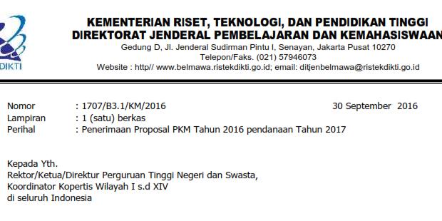 Penerimaan Proposal PKM Pendanaan Tahun 2017